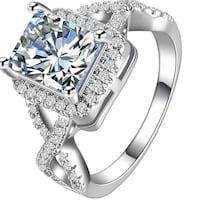 New aaa cubic zirconia white gold ring