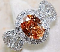 Extraordinary Beautiful Padparadscha and White Sapphire Ring in 925 Sterling Silver sz 8 Coleman, 76834