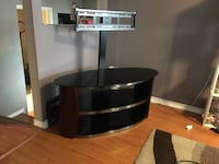 Black wooden tv stand with mount