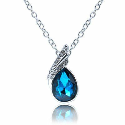 Photo Blue Water Droplet Silver Necklace #00020