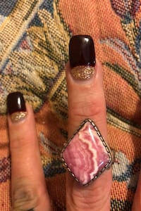 Handmade Native American pink natural stone sterling ring. Bristol, 19007