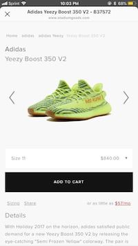 pair of green Adidas Yeezy Boost 350 v2 sneakers screenshot