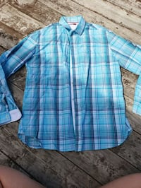 blue and white plaid dress shirt Dallas, 75250