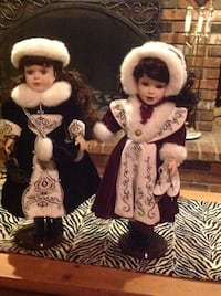 Five pairs of porcelain dolls and 2 single ones
