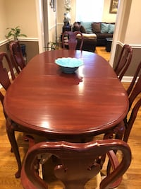 oval brown wooden dining table with chairs set Stamford, 06905