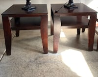 2 cherry wood end tables with glass top coffee table. Las Vegas, 89115