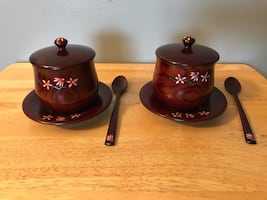 Asian Wooden Tea Set for 2 with Floral Design