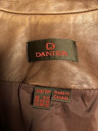 Danier 100% Authentic Brown Leather Jacket Size XS Made in Canada