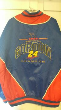 blue, yellow, and red letterman jacket