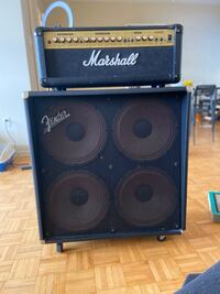 Marshall Amp Head and Fender amp cab electric guitar