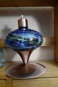 NEW*GLASS OIL LAMP, COPPER PLATED
