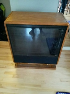 black and brown wooden tv