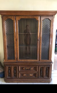 Brown wooden framed glass display cabinet Miami