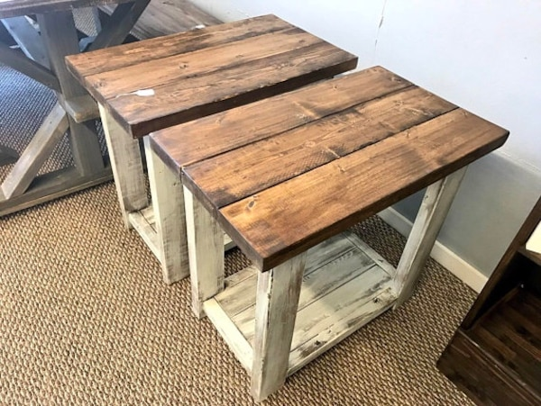 Used Rustic Handmade Long End Tables Set With Shelve