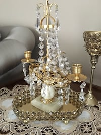 Gold plated crystal candle holder with marble base Oakville, L6M 5E4