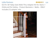 "EZ-Fit: 36"" Baby Gate Walk Thru Adapter Kit for Stairs + Child and Pet Safety - Protect Banisters + Walls - ONLY includes (1) adapter side Kennesaw, 30144"