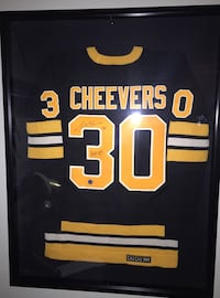 Autographed Gerry Cheevers vintage wool Boston Bruins jersey with display case