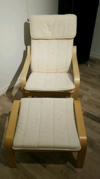 IKEA brown wooden framed white padded glider chair Toronto, M2H 2W6