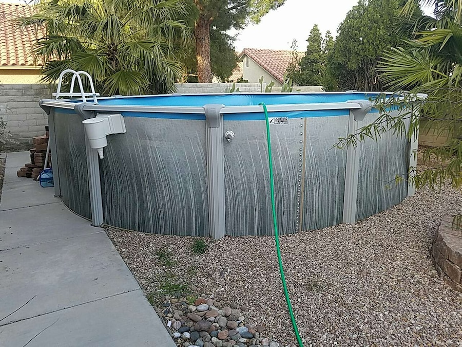 Letgo gray and blue above ground swimm in las vegas nv for Above ground pool decks las vegas