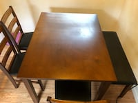 rectangular brown wooden table with four chairs dining set Rhodesdale, 21659