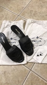 black leather slide sandals with box Gaithersburg, 20879