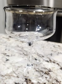 Set of 4 Lenox Desire Platinum Trim Champagne Sherbet Crystal Glasses Grapevine