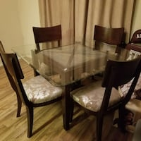 glass top table padded chairs 5 piece dinette set College Station, 77845