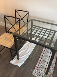 Ikea glass top metal frame table and 2 chairs  Coquitlam, V3B