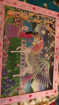 princess standing beside unicorn painting with pink frame Woodburn, 97071