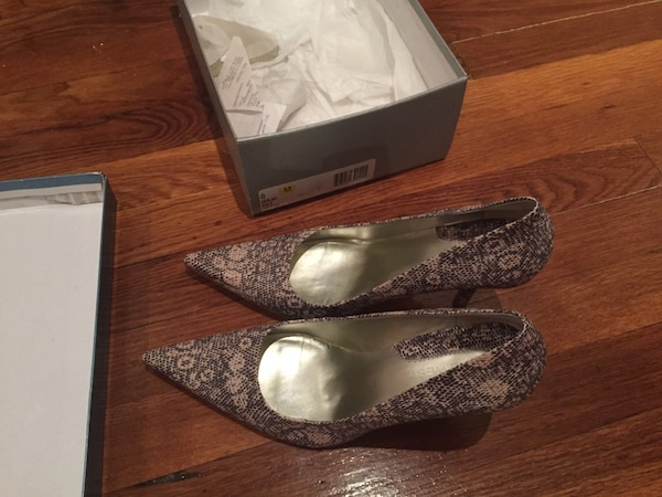pair of gray glittered pointed-toe pumps