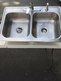 Stainless Steel Double Bowl Sink with Chrome Faucet Revere, 02151