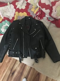 First MFG Classic Side-Lace Black Leather Motorcycle Jacket Cypress, 77429