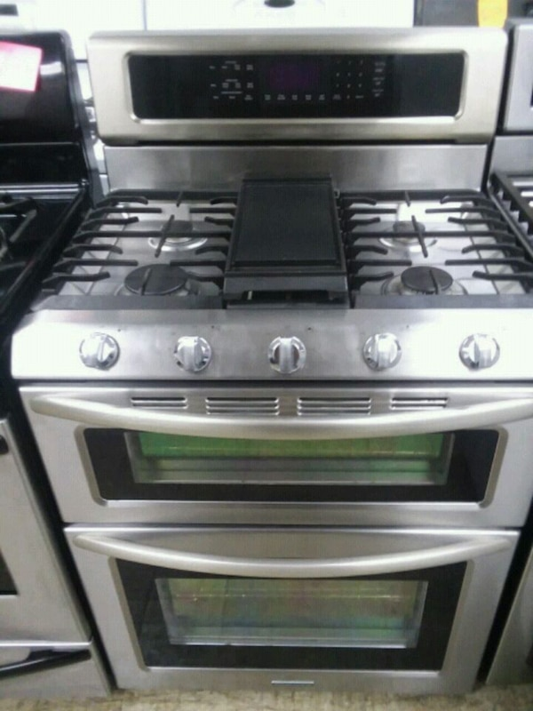 Kitchen Aid stainless steel gas stove double oven
