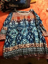 blue and white tribal print long-sleeved shirt Rocky Comfort, 64861