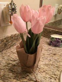 Pink artificial tulips in planter (set of 2) Port Coquitlam