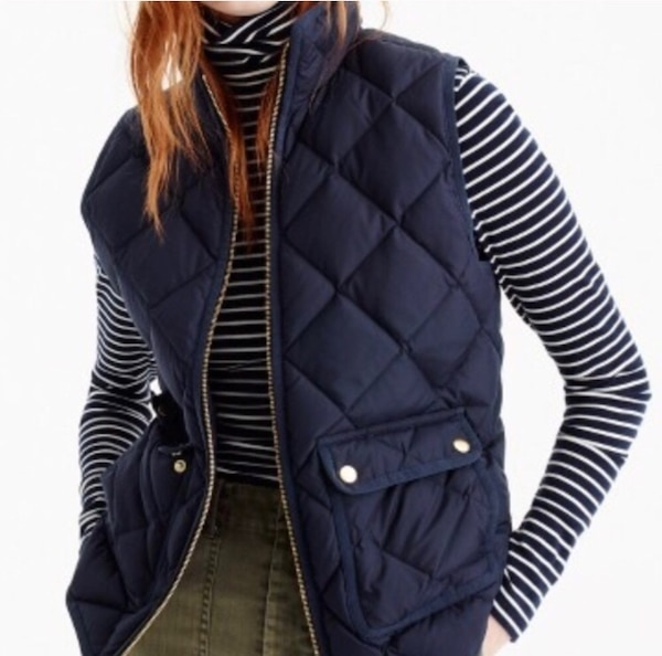 J Crew Brown Quilted Vest Size M