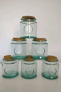 Six URBAN BARN  recycled glass jars - Like new Toronto, M4E 1T4