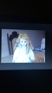 White and blue dressed porcelain doll Markham, L3S 3Y9