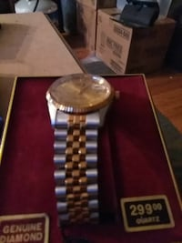 round silver analog watch with link bracelet Medford