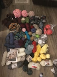 Collection of more than 60 balls of Wool, plus hardcover knitting book Saanichton, V8M 2B3