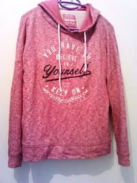 Pull over capuche  manches longues rose et blanche Guingamp, 22200
