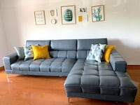 Sectional blue/gray leather + pillows