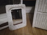 White wicker mirror MONTREAL