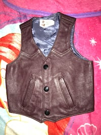 brown leather button-up vest Bedford, 76021