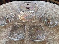 Vintage carnival glass iridescent snack trays and cups