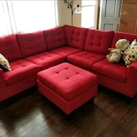 Brand New Red Linen Sectional Sofa + Ottoman  Silver Spring