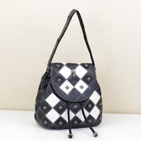 FALAFILIA ENVOGUE MULTI PURPOSE DIAGONAL CONTRAST COLOR HANDBAG WITH RIVET