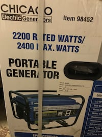 New in box Chicago Electric 2200 rated watts/2400 max generator  Coraopolis, 15108