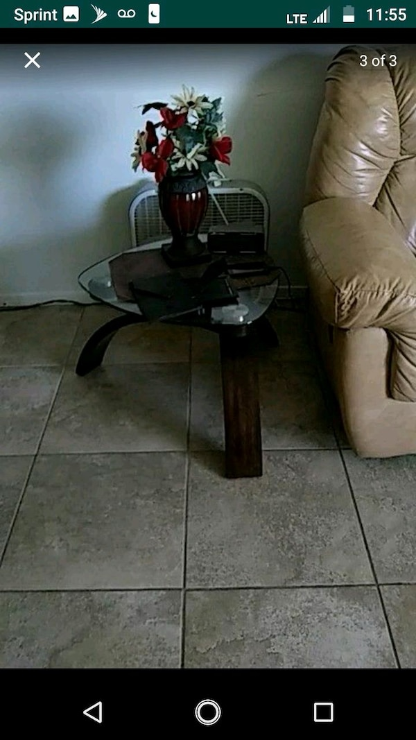 Glass coffee table and end table with wood legs