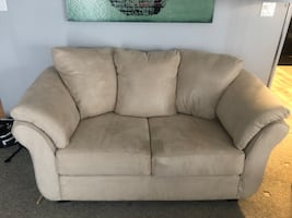 Beige Microsuede Couch/Loveseat